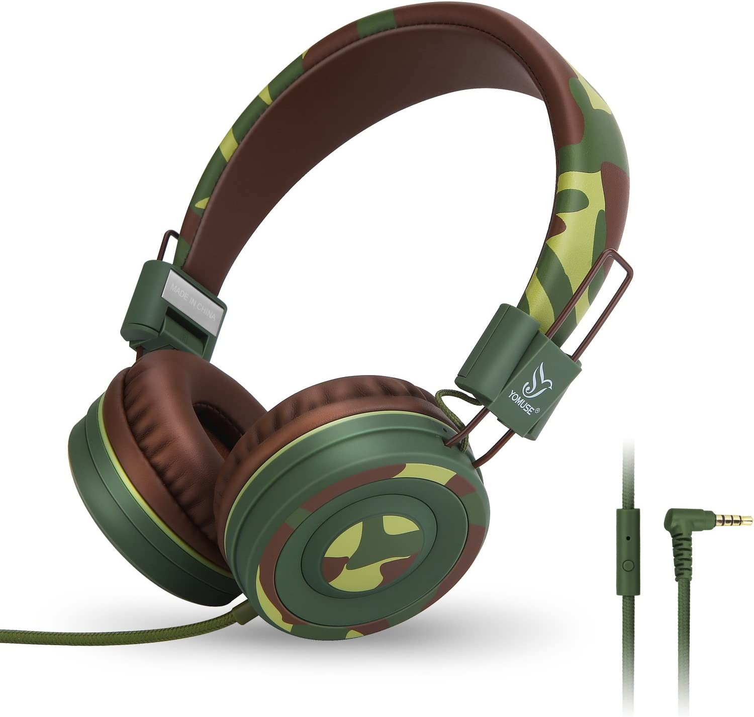 Yomuse C89 On Ear Foldable Headphones w/Microphone, Adjustable Headband for Kids Adults, iPhone iPad iPod Computers Tablets Smartphones DVD, Camo Green