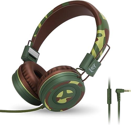 Yomuse C89 On Ear Foldable Headphones w Microphone, Adjustable Headband for Kids Adults, iPhone iPad iPod Computers Tablets Smartphones DVD, Camo Green