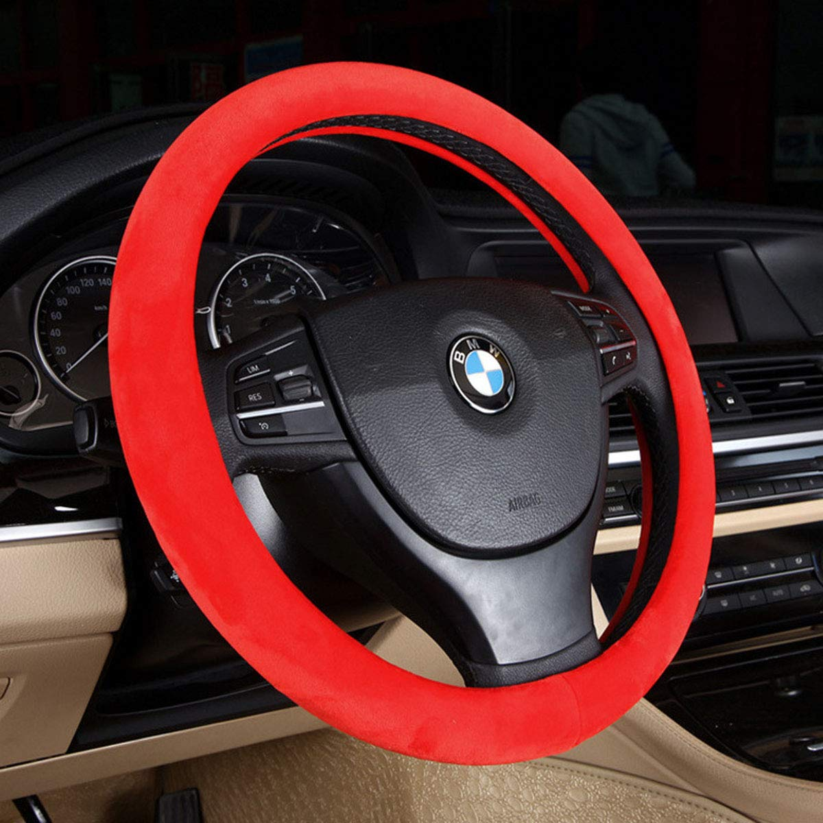 Car Steering Wheel Cover Universal Premium Faux Wool Car Steering Wheel Plush Cover 15 Inch Middle Size Auto Anti-slip Wheel Cushion Protector Winter Warm Auto Comfortable Thermal Steering Wheel Cover