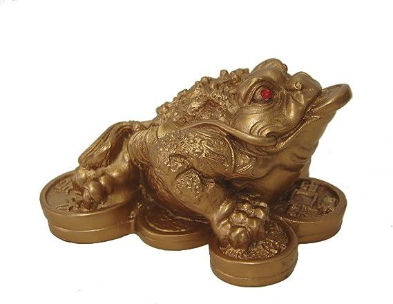 Imitation Copper, Small Size 6X6X5 cm Lucky Frog Decorazione Money Toad Feng Shui Frog AMONIDA Money Frog Resina per la casa per LUfficio