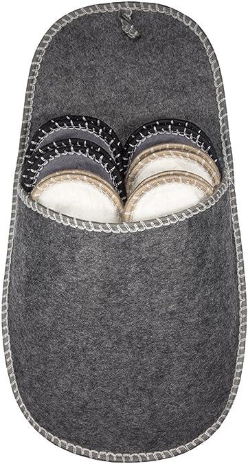 Filz grau Pantoffel Größe 37 bis 45 Hausschuhe Set Gästehausschuhe