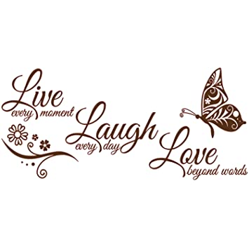 decalmile Wall Decals Quotes Live Every Moment Laugh Every Day Love Beyond Words Wall Stickers Kids Bedroom Living Room Wall Decor