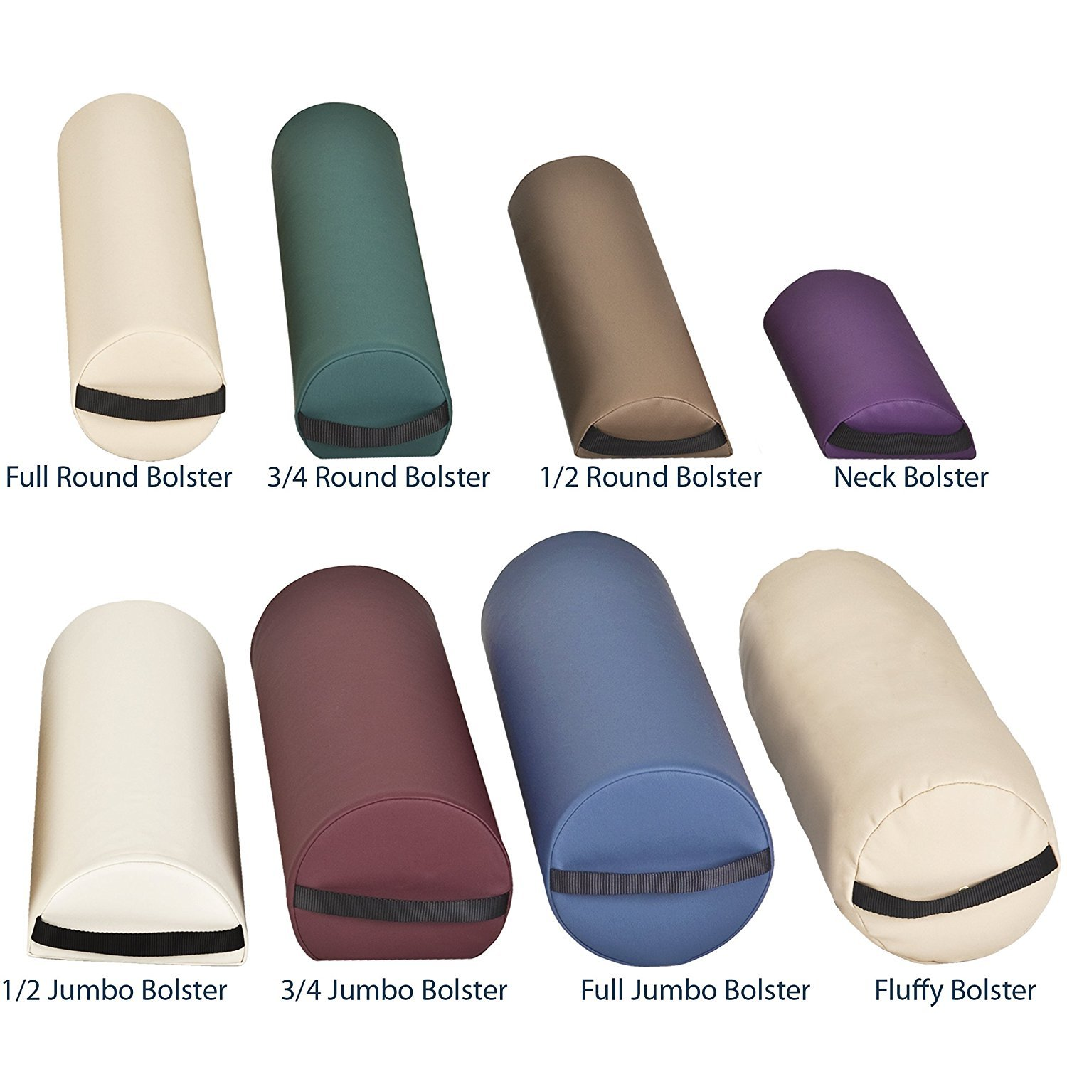 EARTHLITE Bolster 3/4 Round – Durable Massage Bolster in Various Colors incl. Strap Handle