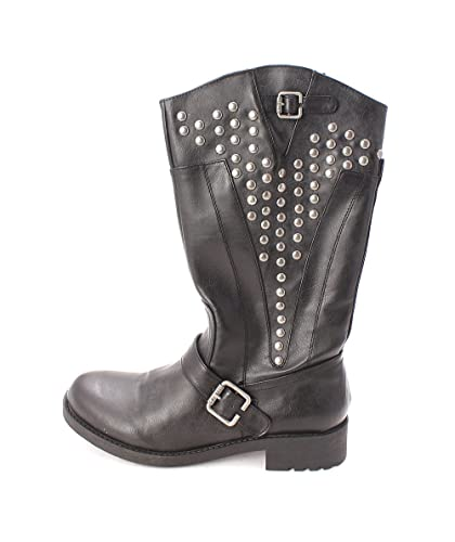 G by Guess Womens Essteem Round Toe MidCalf Motorcycle Boots Black Size 5.5