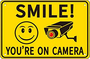 JBF Funny Monitor Metal Tin Sign - Smile You're on Camera - Video Surveillance Signs Outdoor Indoor for Home/Company/Office/Restaurant/Bar/Cafe/Bedroom Door Wall Decor 8x12INCH