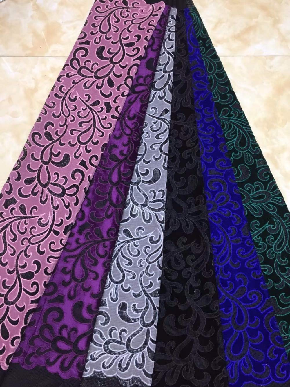 Laliva French Nigerian Laces Fabric Tulle African Laces Fabric Wedding African French Tulle Lace - (Color: 6)
