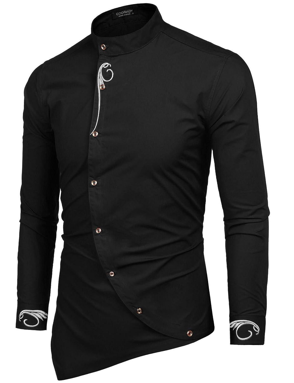 Coofandy Mens Long Sleeve Embroidered Button Down Irregular Design