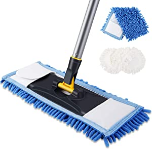 Yocada Dust Mop Dual-Action Microfiber Mop with 1 Chenille 1 Cotton Mop Pad Washable Wet and Dry for Hardwood Ceramic Marble Tile Laminate Home Kitchen Floor Cleaning