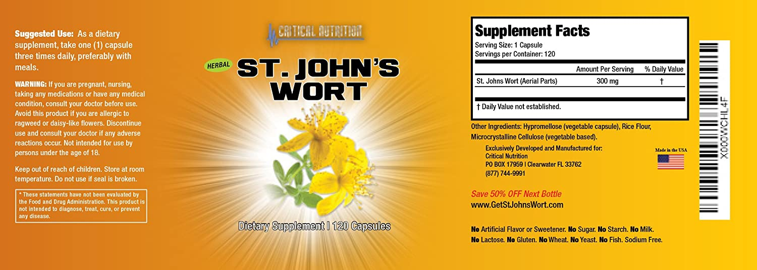Amazon.com : St. John\'s Wort from Critical Nutrition Comes With 300 ...