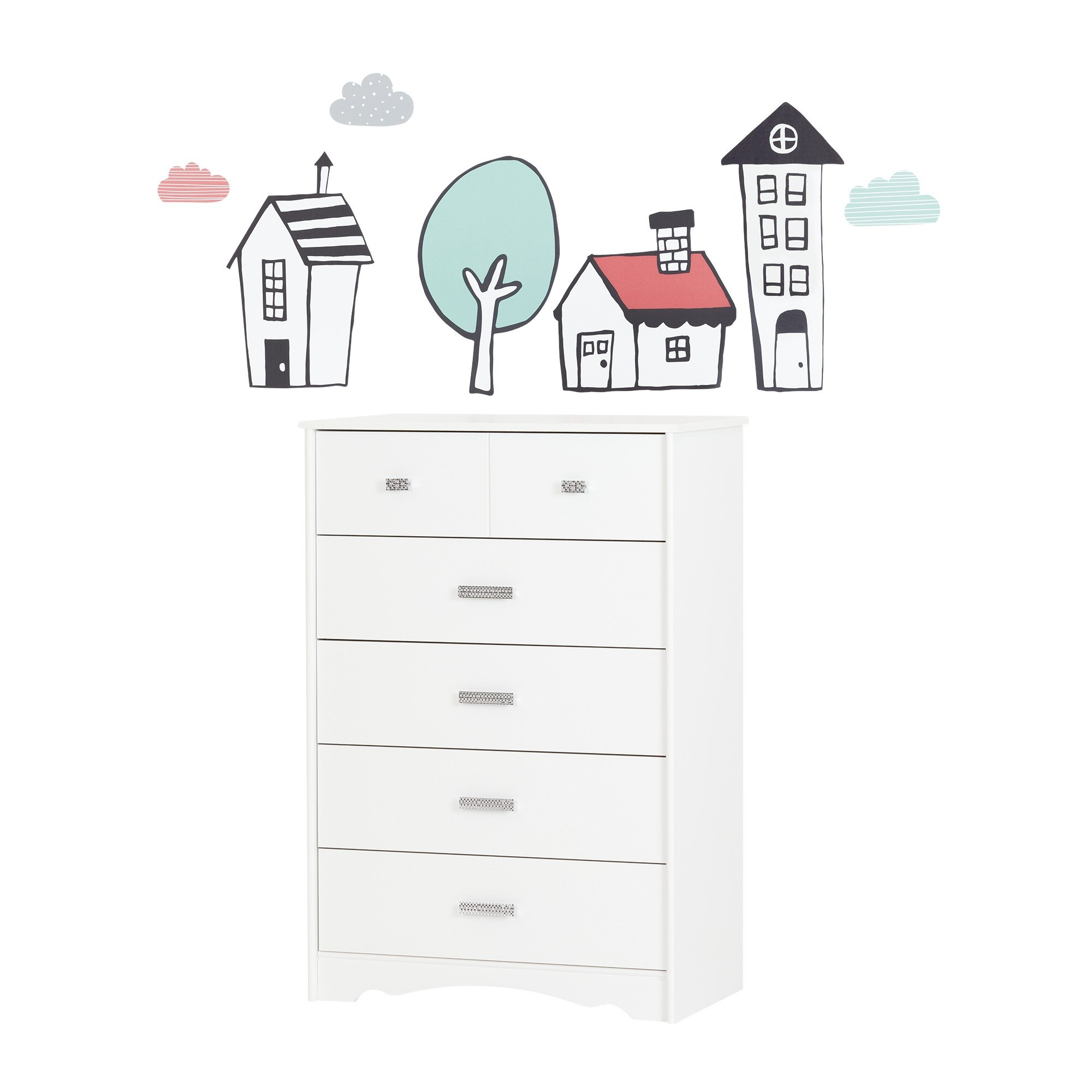 South Shore Tiara Pure White and Pink 5-Drawer Chest with Night Garden House in the Hood Wall Decals