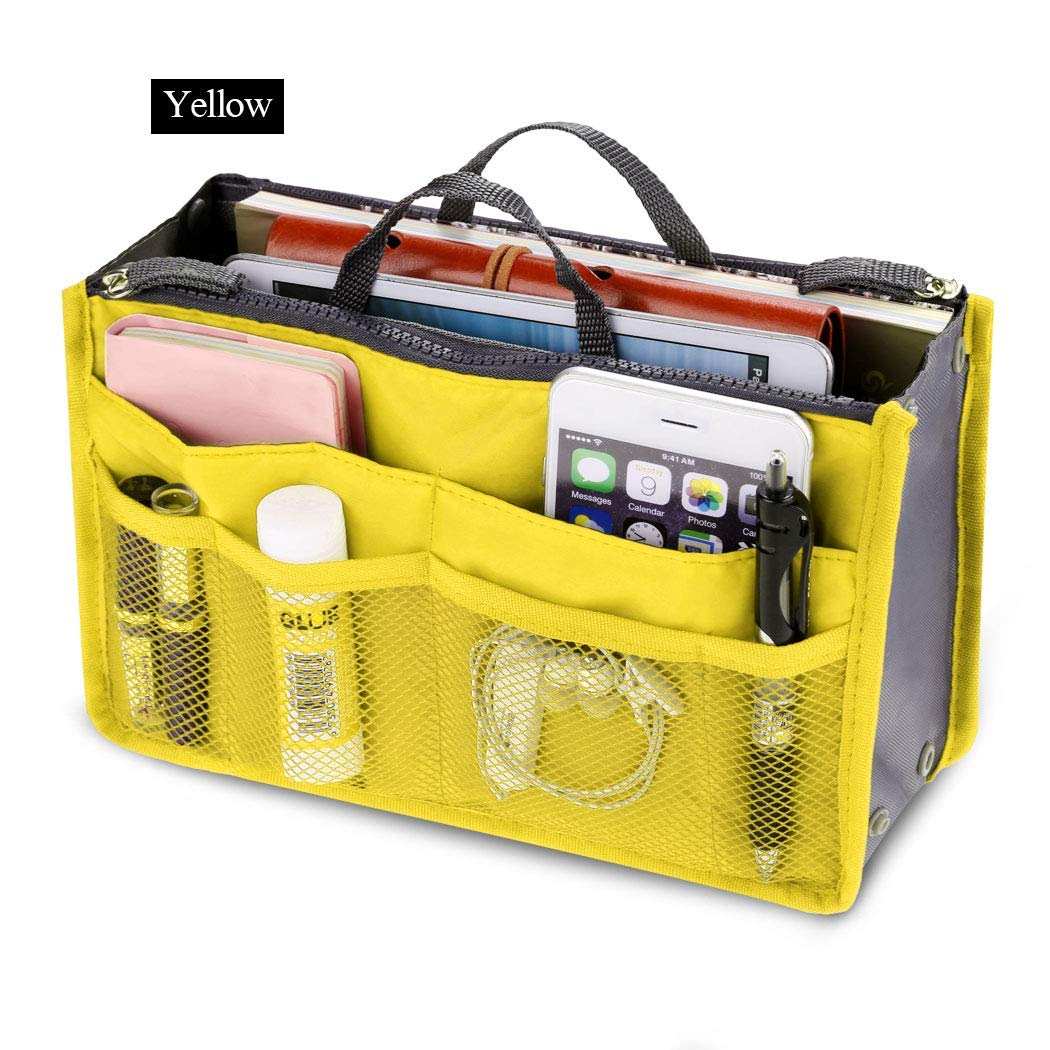 Fashion Women Multifunction Travel Cosmetic Makeup Insert Pouch Toiletry Organizer Handbag Storage Pur Closet Systems (Yellow)