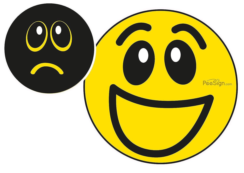 PEESING Pegatina autoadhesiva para inodoro - Calcomania sticker para urinario smiley 'carita triste, carita feliz' carita feliz Peesign