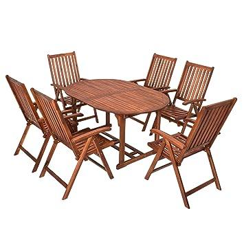 Gartentisch Und Stühle Holz.Nfp 7 Teilige Sitzgruppe 6 Stühle 1 Tisch Gartenmöbel Holz