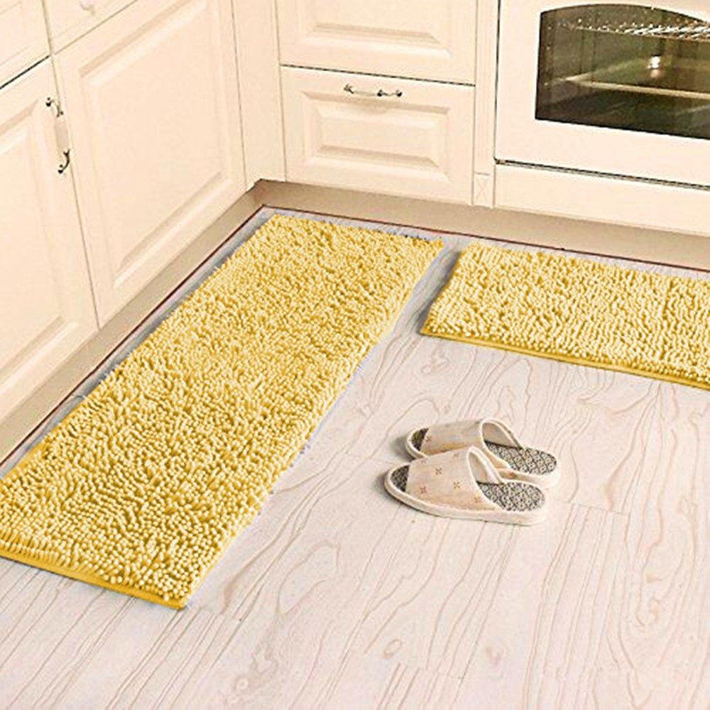 Ustide Shaggy Chenille Rug 2-Piece Kitchen Rug Set Washable Yellow Bathroom Mat Anti-Slip Absorbent Floor Rugs Carpet