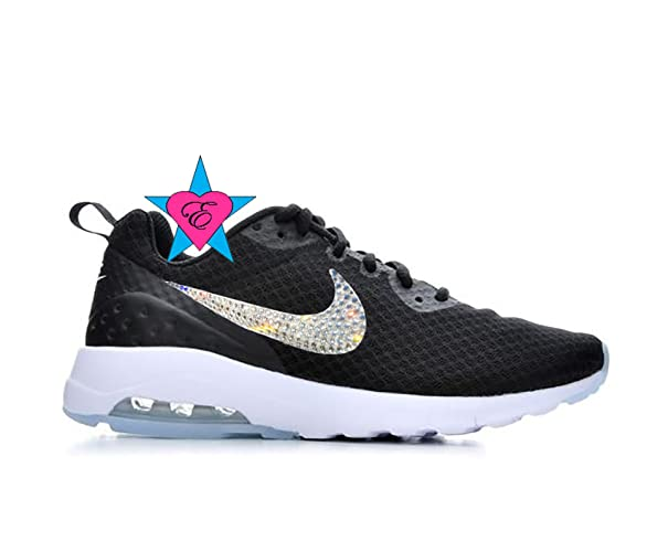 Amazon.com  Custom Black White Clear Crystal Bling NIKE WOMENS AIR MAX  MOTION  Handmade 24d44b507c