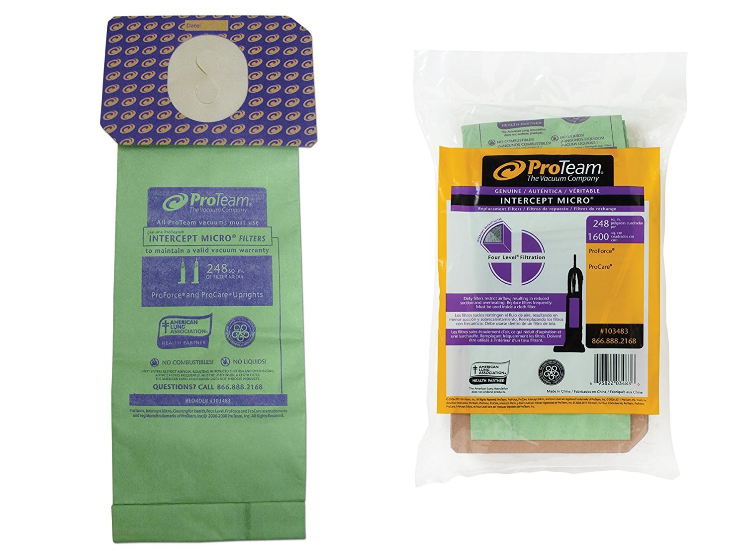 TVP INTERCEPT MICRO Pack of 10 Filter Bags Fits ProTeam ProForce 1500 HEPA, 1500XP HEPA, 1200XP HEPA, ProCare 15 and ProCare 151XP vacuums