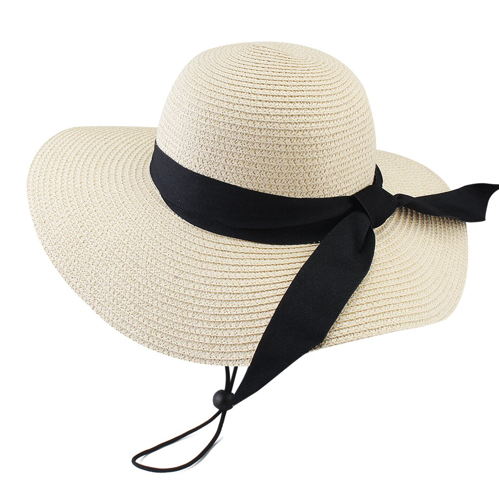 Wide Brim Beach Straw Sun Hat for Womens Travel Packable Cap with Summer Beach Chin Strap