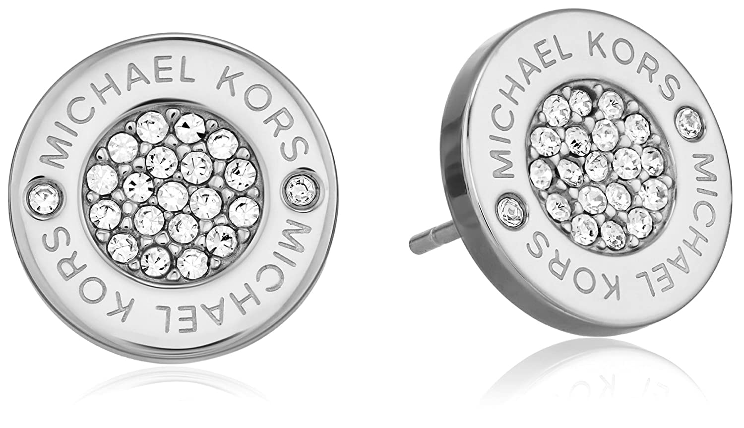 fc93bc8fb78188 Michael Kors Silver Tone Logo Pave Stud Earrings: Amazon.co.uk: Jewellery