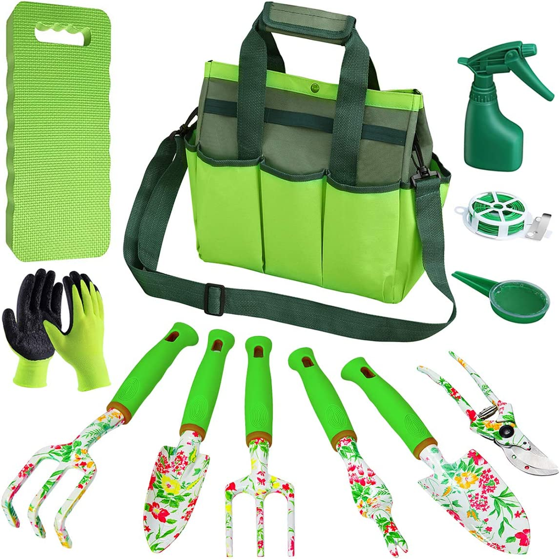 ROHOO Garden Tool Set,Heavy Duty Gardening Tools Kit for Men and Women with Hand Tote Shoulder Bag Gardening Supplies,Gardening Gifts for Gardener