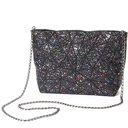Amazon.com  Rainbow Geometric Shoulder Bags-Trengl with Laser Shiny Sequins  Handbag purse(Black)  Shoes 35244f08cadf