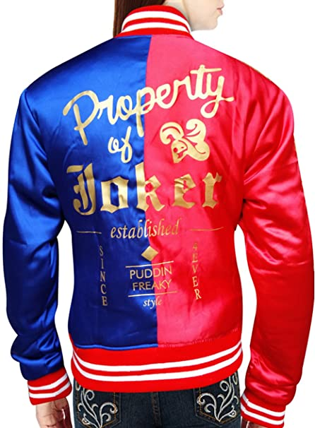 Harley Quinn Chaqueta en rojo y tela de raso), color azul
