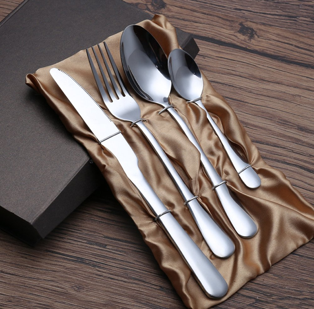 ROSE CREATE 4-piece Premium Stainless Steel Flatware Sets, 2 Spoons, 1 Knife, 1 Fork, Fork and Knife Gift Box Set (Silver-4 pcs)