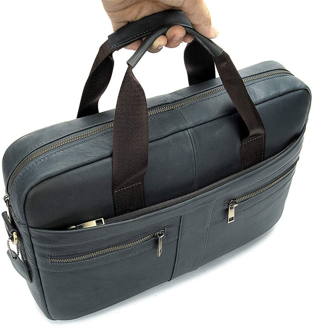 Briefcase Mens Leather Handbags Crossbody Bags Business Messenger Bags Laptop black