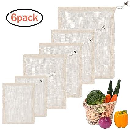 Fullsexy 6 Piezas Bolsa de Malla, Bolsas de Tela Algodón Reutilizable Orgánico Transpirables para Frutas Verduras (2xS/3xM/1xL)