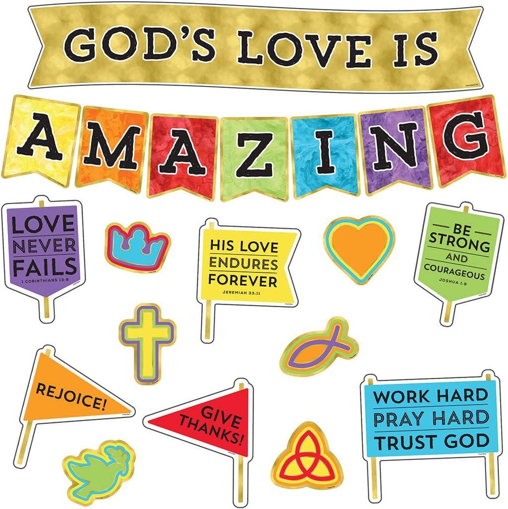 Amazon Com Carson Dellosa God S Love Is Amazing Christian Bulletin Board Set 21pcs Office Products