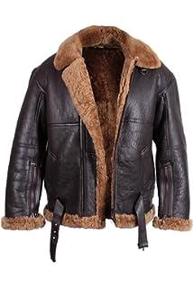 Brandslock Mens Aviator Shearling Sheepskin Leather Jacket
