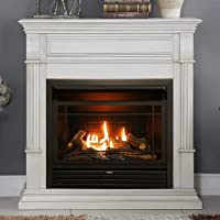 Duluth Forge Dual Fuel Gas Fireplace-26,000 BTU, T-Stat Control, Finish ventless Fireplace Antique White