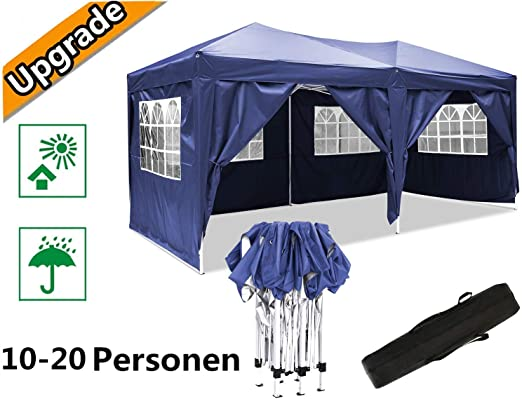 Oppikle Plegable Carpa con Paredes 3x3/3x6m - Impermeable, con Protección Solar, Ideal para Fiestas en el Jardín - Gazebo, Cenador, Pabellón, Tienda Fiestas, Persona 10-20 (3x6m Azul): Amazon.es: Jardín