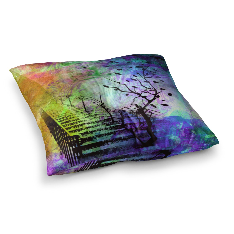 23 x 23 Square Floor Pillow Kess InHouse AlyZen Moonshadow Stairway Blue Tree