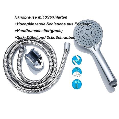 Verchromte Handbrause Brausekopf Duschkopf Duschbrause Brause 3 Funktionen Ø10cm Bad & Küche Heimwerker