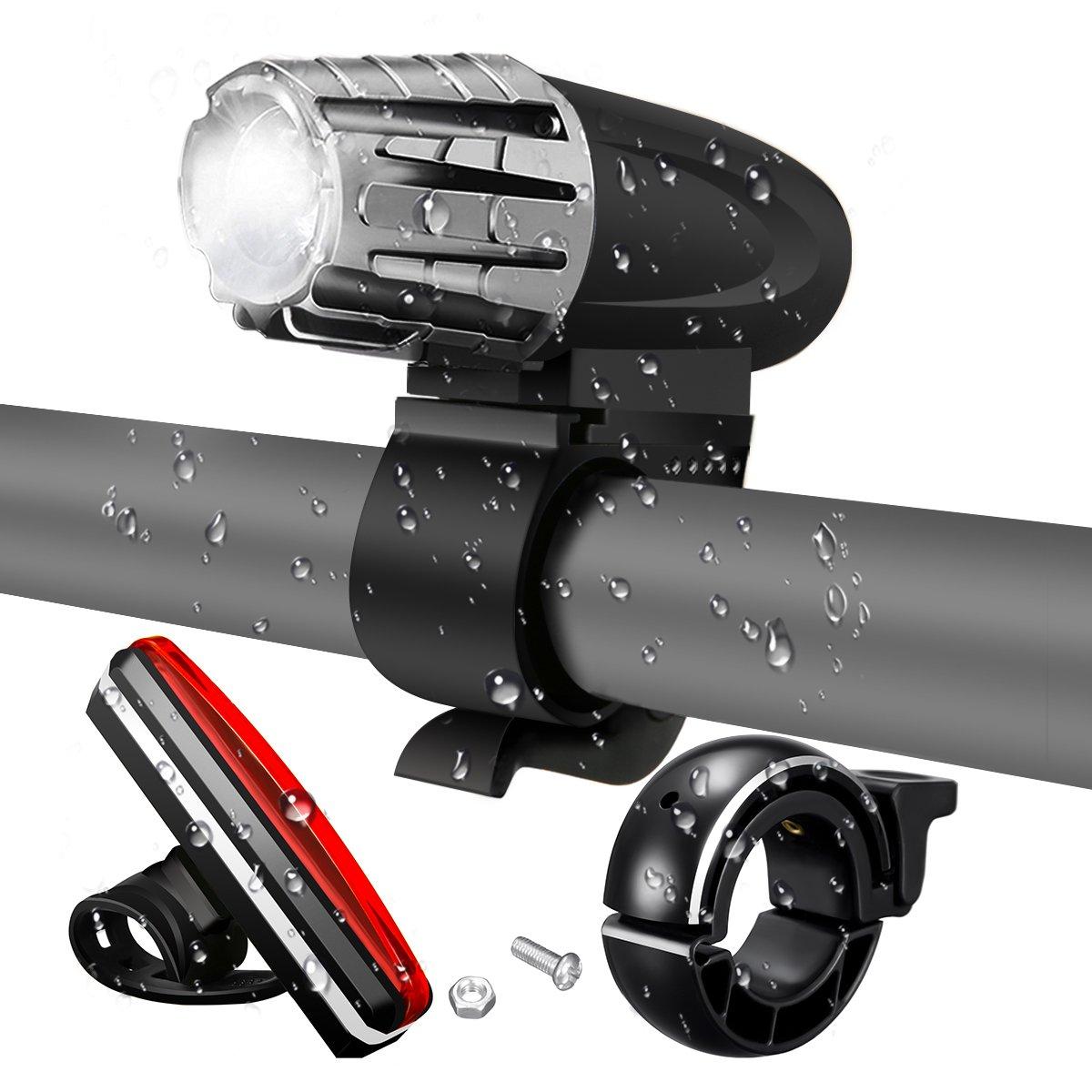 Luci per Bicicletta,SGODDE LED Set Luci della Bici USB Ricaricabile,4 Modalità di Illuminazione/Sensore di Movimento Intelligente/Super Luminoso 200 lumen/ Impermeabile[luce anteriore+luce posteriore