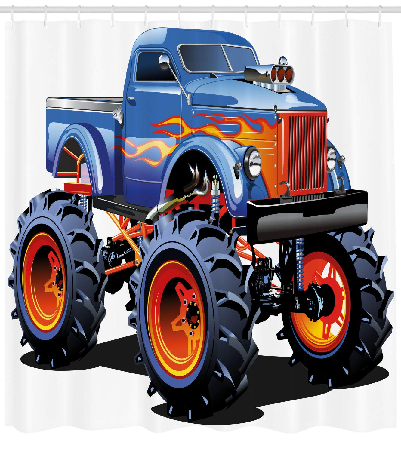 Man Cave cortina de ducha por lunarable, Cartoon Monster Truck con grandes neumáticos todoterreno pesado grande Tractor ruedas Turbo, cuarto de baño Set de ...