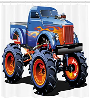 Man Cave cortina de ducha por lunarable, Cartoon Monster Truck con grandes neumáticos todoterreno pesado grande Tractor ruedas Turbo ...