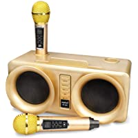 Karaoke Machine, vamvo VF-301 15W2 rechargeable Bluetooth Speaker with 2 Wireless Microphone, Portable PA Speaker System…