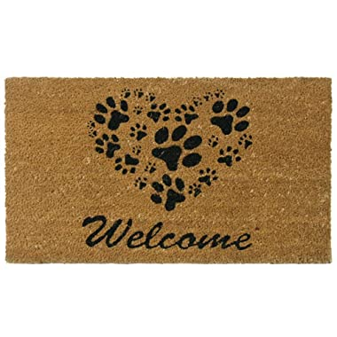 Rubber-Cal  Heart-Shaped Paws Welcome Mat, 18 by 30-Inch