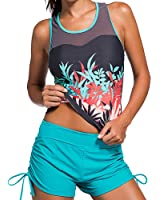 SUNNOE Women's Sleeveless Printed Mesh Splice Racerback Tankini Sets With Boyshort Two Piece Swimsuit Swimwear