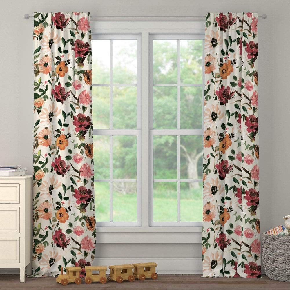 Carousel Designs Moody Floral Drape Panel 96-Inch Length Blackout Lining 42-Inch Width