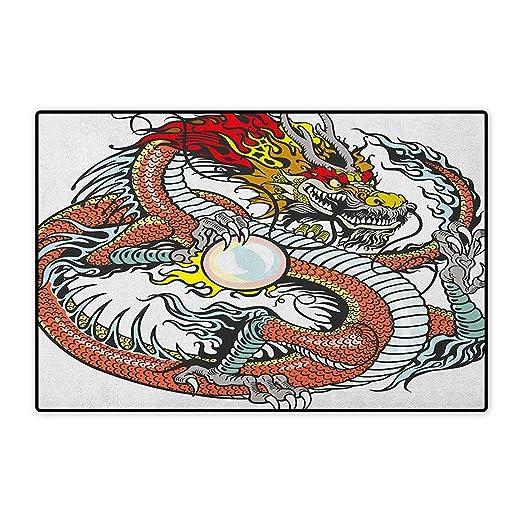 Dragon,Felpudo pequeña Alfombra Estilo Tatuaje Tradicional ...