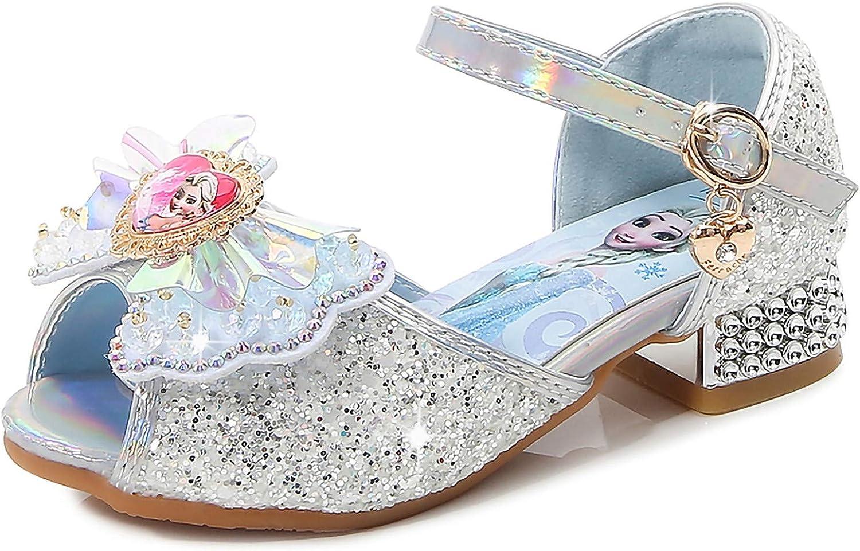 YOSICIL Zapatos de Tac/ón Alto con Arco para Ni/ña Zapatos de Ballet Disfraz de Princesa Elsa con Lentejuelas Sandalias de Pescado Boca Zapatilla de Vestir Fiesta Cosplay Carnaval Playa