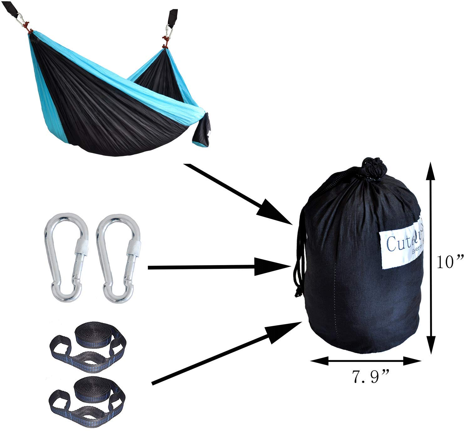 Cutequeen Double Nest Nylon Fabric Hammock with Multi Loops Tree Straps Black Sky Blue