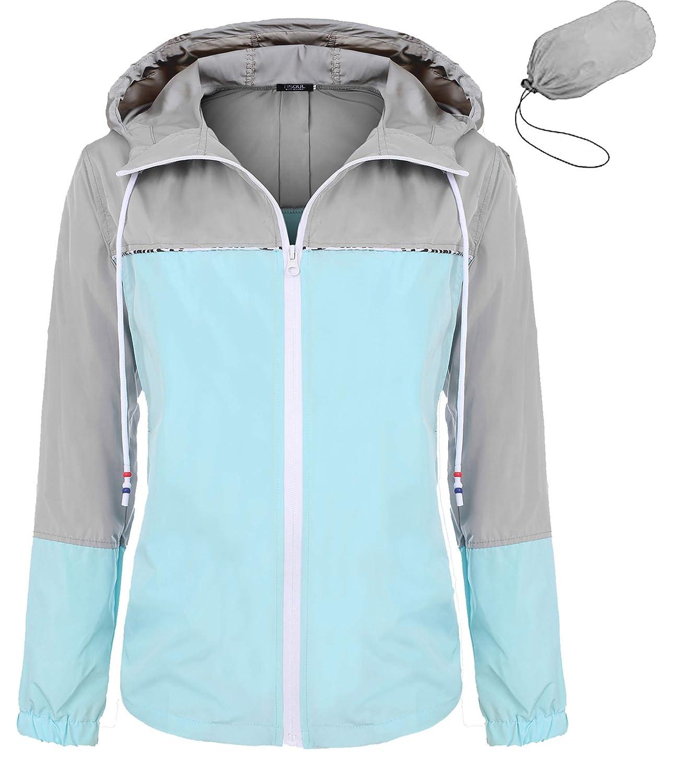 1_lake bluee1 FISOUL Women's Waterproof Raincoat Packable Active Outdoor Hooded Lightweight Rain Jacket Windbreaker SXXL