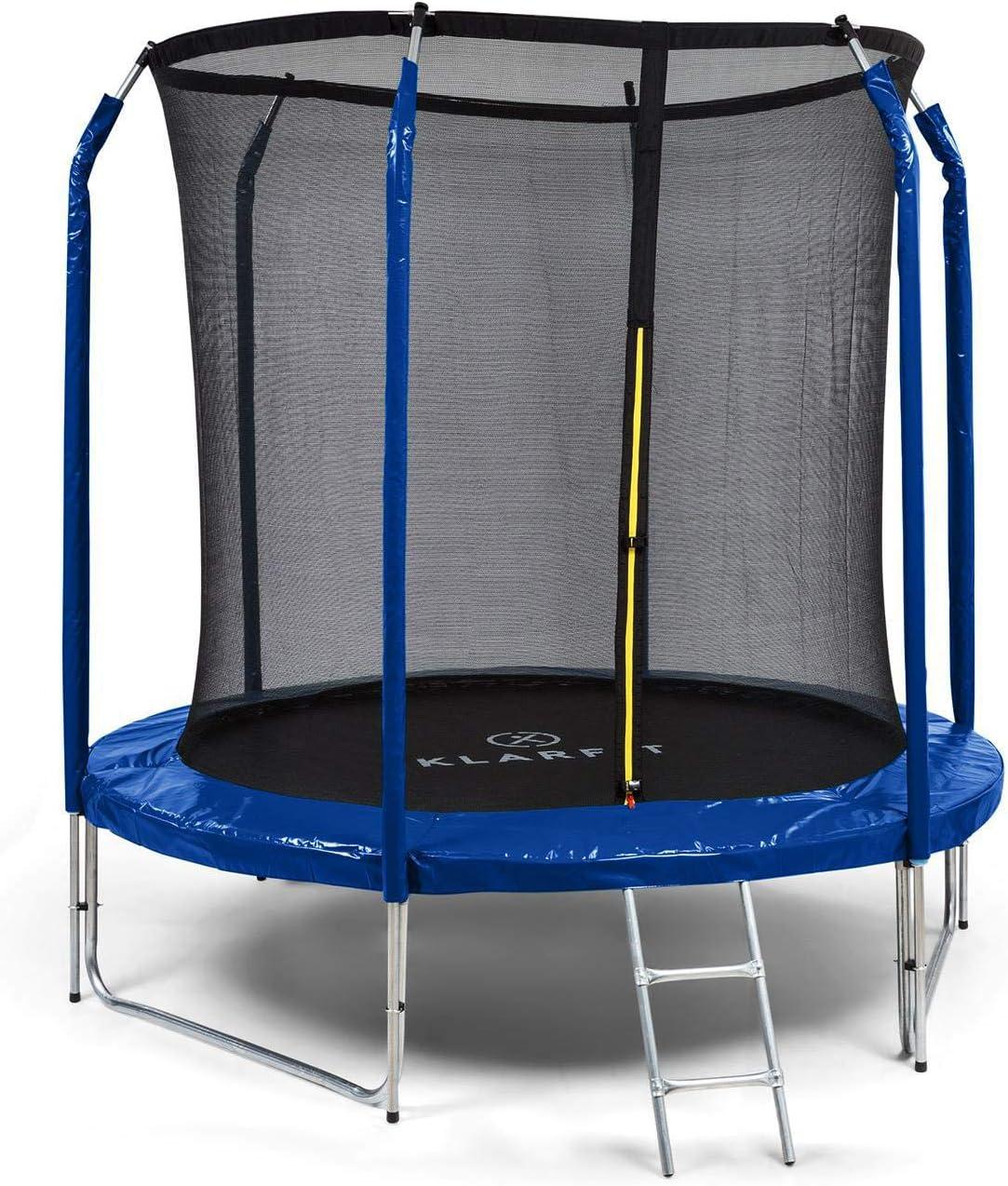 Klarfit Jumpstarter - Cama elástica, Superficie Salto 1,95 m, Certificado Intertek, Red de Seguridad Interior, Carga máx. 120 kg, 3 Patas Dobles, Escalera de Acero galvanizado, Acolchado