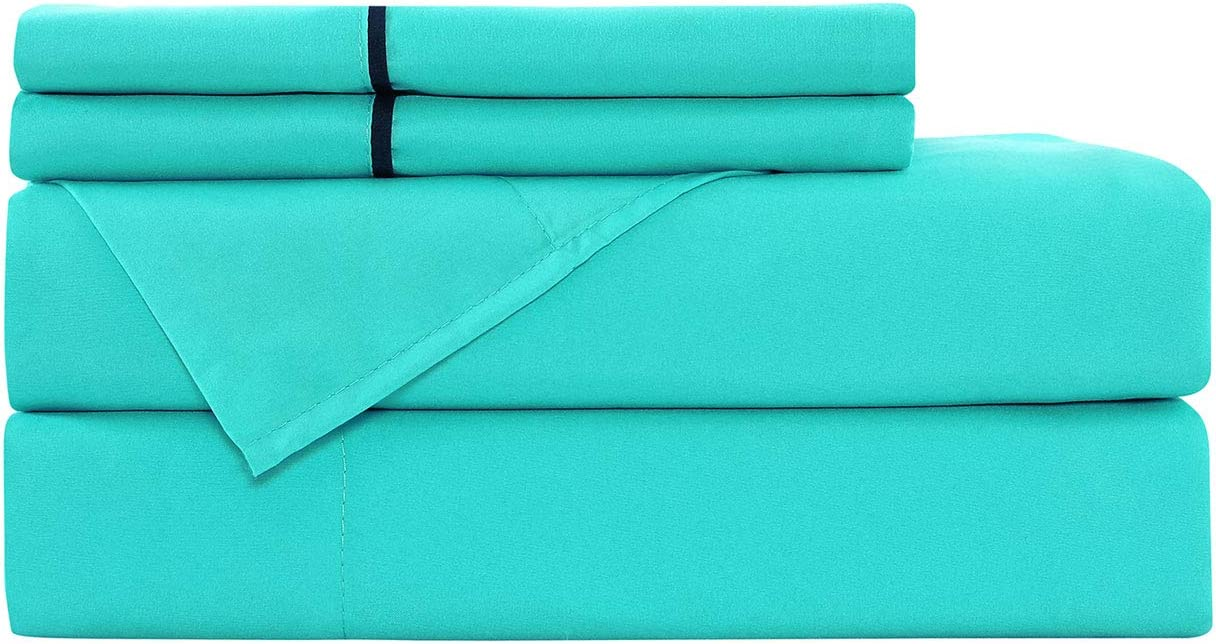 Basic Choice Bed Sheet Set - Light-Weight, Wrinkle & Fade Resistant Microfiber Bedding Sets - 4 Piece (Full, Turquoise)