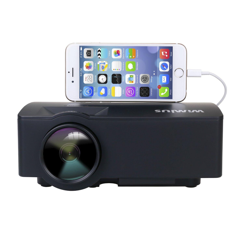 Proiettore, Mini Proiettore Portatile 1500 lumen Videoproiettore Full HD Supporta lo stesso schermo con smartphone Via cavo dati iPhone e HDMI SD Interfaccia USB VGA (Nero)