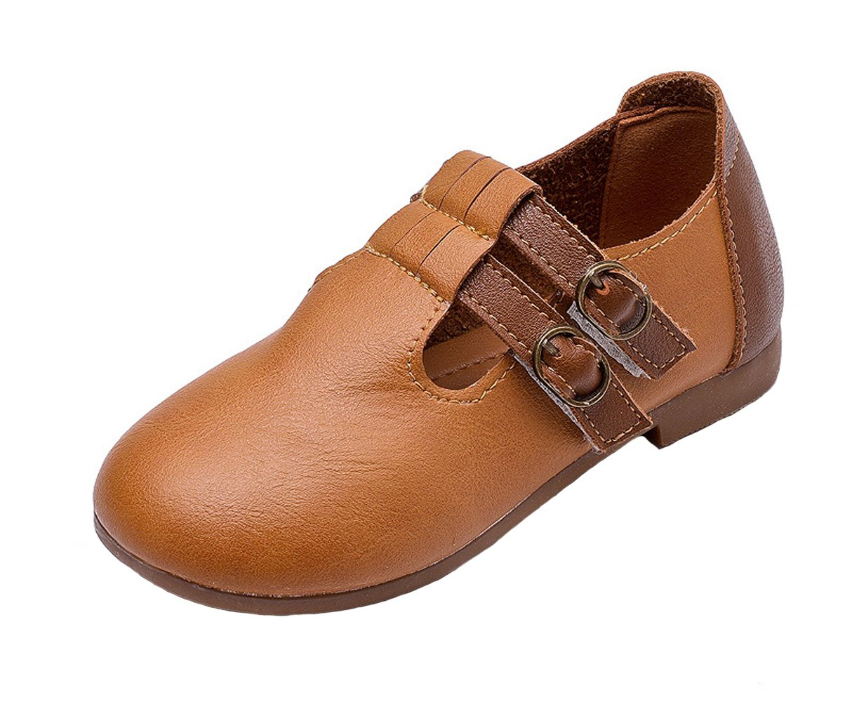 WUIWUIYU Kids' Boys' Girls' Oxfords Shoes T-Strap Round Toe Casual Walking Flats Brown Size 12 M
