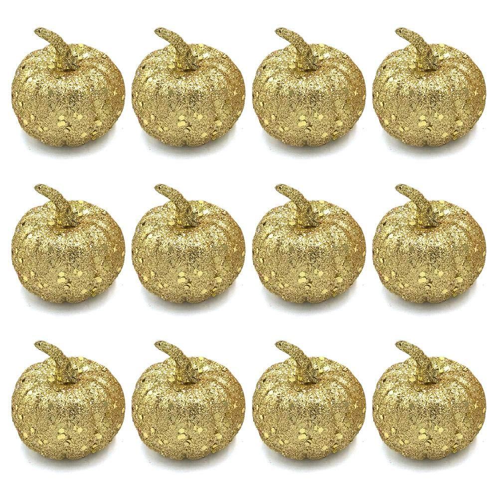 Jannyshop 12 PCS Mini Artificial Simulation Pumpkins for Halloween Decoration